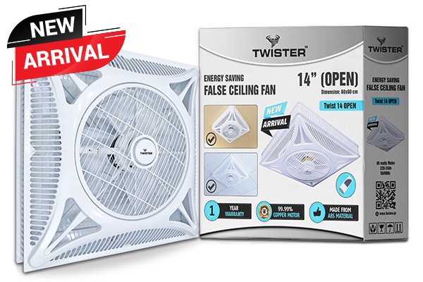 twister false ceiling fan 14 inch open